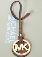 Michael Kors MK Gold Charm Luggage Brown Genuine Leather Long Strap Handbag Fob