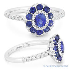 18k White Gold Right-Hand Flower Ring 1.41ct Blue Sapphire Diamond Pave Cluster