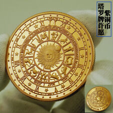 Tarot Sun Moon Geomancy Constellation Lucky Wish Red Copper Coin US Collectible