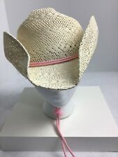 SomHer Unisex Hat Size Large Beige Woven Straw Cowboy Drifter Beach  Pink Pull