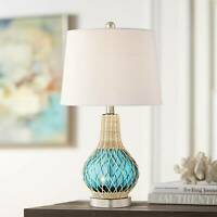 Coastal Accent Table Lamp with Nightlight LED Rope Blue Glass Gourd Living Room