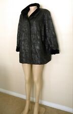 HIGH END QUILTED FAUX LEATHER VELVET TRIM COAT M / L, BLACK, Warm & Lightweight