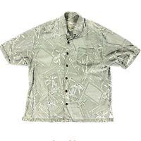 Jamaica Jaxx Hawaiian Men's Floral Green SILK Shirt Button Down Short Sleeve