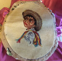 Vintage WOOL NEEDLEPOINT ON CANVAS MEXICAN BOY PORTRAIT FOR FRAME OR PILLOW