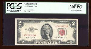 DBR 1953-A $2 Legal Fr. 1510 PCGS 30 PPQ Serial A54803239A