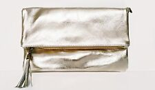 Italian Gold Metallic Leather Flap-over Clutch/Shoulder Bag