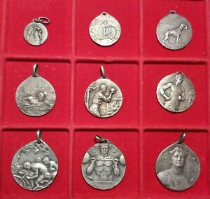 Lotto n.9 Medaglie commemorative Sport Italiano Lega metallica Liberty 1910/1920