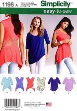 Simplicity Sewing Pattern 1198 Women's easy-to-sew knit Tops Tunics XXS-XXL