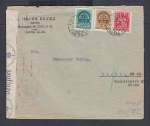HUNGARY 1941 TWO WWII GERMAN CENSORED COVERS BUDAPEST TO BERLIN GERMANY