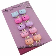 Color Cartoon Cat Clip-On Earrings Kids Children Teen Girls Birthday Party Gift