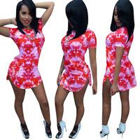 New Women's Short Sleeves Tie-dyed Print Casual Summer Club Mini T-shirt Dress