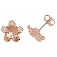 Unique Wishlist 9ct Rose Gold Plain Delicate Flower Studs *ES419R