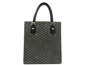 Authentic GOYARD Comores GM Hand Bag Black PVC Leather Tote Bag 94761