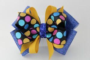 Girls Rhinestone Rainbow Dots Hair Bow Barrette Clip Headband Cotton Candy Denim