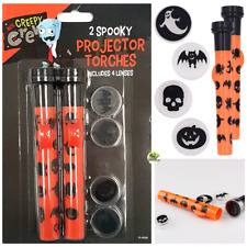💀PACK OF 2 SPOOKY PROJECTOR TORCHES HALLOWEEN Party Kids 4 Lenses Skull Ghost💀
