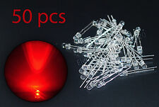 50pcs LED 3mm Red Water Clear Ultra Bright-USA Fast Shipping