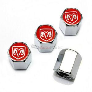 4 Dodge Ram Red Logo Chrome ABS Tire/Wheel Stem Air Valve Car Truck CAPS Covers