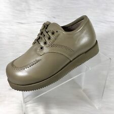 Drew Women's Oxfords Taupe Leather Shoes Size 7 3E ( Extra Wide) NIB