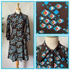 Vintage 1960s Brown Blue Patterned Long Sleeved Fitted Dress Mod Go Go Size 10