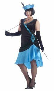 20's-30's Style Costume Dress & Hat Blk/Blue Velour & Poly Satin Drop Waist Plus