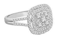 10K Oro Blanco 1.16 Quilates Mujer Diamante Boda Anillo de Compromiso