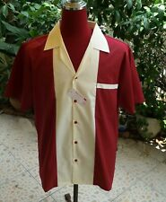 Men's Rockabilly Vintage 50's Style Retro Bowling Shirt Burgundy & Cream Front L