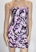 Bluejuice Designer Purple Print Ruffle Strapless Dress Size 8-XS BNWT #SF06