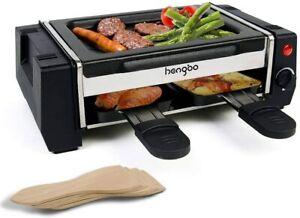 Raclette Grill Mini Raclette Grillplatte *2 Pfännchen und 4 Schaber* 2 Personen