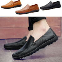 New Mens Moccasin Driving Casual Boat Shoes Leather Flat Shoes Slip On Loafers