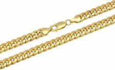 """10k желтое золото Майами кубинская цепь ожерелье браслет 4mm-7.5mm размер 7"""" -30"""""""