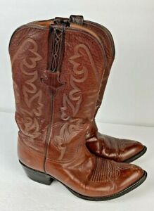 LUCCHESE Cognac Leather Classic Ranch Hand Cowboy Boots 8 EE Western Men's