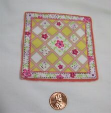 """FISHER PRICE Loving Family Dollhouse FLORAL BLANKET PINK YELLOW for 2.5"""" BABY"""
