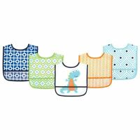 Luvable Friends Boy Waterproof Bib, 5-Pack, Blue Dino