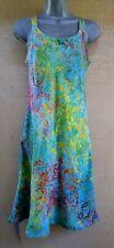 FLORAL Rainbow Turquoise Fit & Flare Bali Tank Top Sun Dress Hippie Boho  S,L,XL