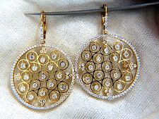 3.02ct natural diamonds floating grill dangle earrings 18kt circles