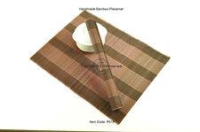 4 Hecho a Mano Madera de Bambú Manteles Individuales Mesa Alfombras Negro-Marrón Oscuro, P019
