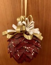 Christmas Folded Fabric Quilted Dark Red  Round Pine Cone Hanging Decoration