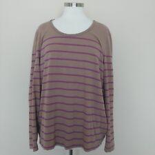 Eddie Bauer Women's Long Sleeve Top Shirt Tee Striped Pink Purple Mauve 2XL XXL