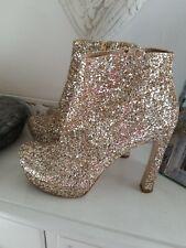 DUNE Klassy Gold Glitter Boots 8