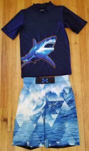 NWT Boys Shark Rashguard & Surf Board Short 2-Piece Swim Set Medium 10/12