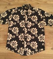 NEW Natural Issue Mens S Hawaiian Shirt Black Tan Floral Short Sleeve Button Up