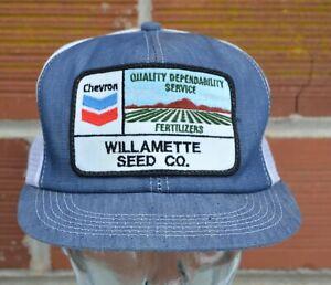 VTG Chevron Fertilizer Hat Denim & Mesh Snapback Cap K-Products Willamette Seed