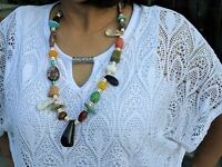 Navajo Necklace Native American Hand Made Jewelry Turquoise Coral Black Jet