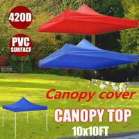 10x10Ft Outdoor Pop Up Canopy Top Gazebo Sunshade Tent Cover 420D Replacement