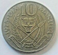 ===>>> Rare 10 Makuta 1975 Congo Zaïre Belge Mobutu KM# 7 <<<====
