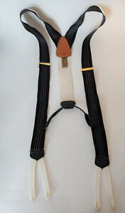 Trafalgar Black White Stripe Braces Suspenders L XL
