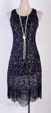 1920's Flapper Party Clubwear Gatsby Abbey Sequin & Tassel Black Dress  AF 3239
