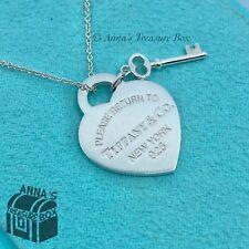 "Tiffany & Co. 925 Silver RTT Heart Key 16"" Necklace (pouch)"