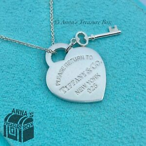 "Tiffany & Co. 925 Silver RTT Heart Key 16"" Necklace (pouch)"