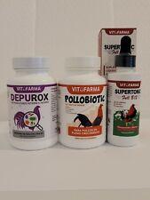 TRIO FOR ROOSTERS/GALLOS DEPUROX-POLLOBIOTIC-SUPERTONIC FULL  FORMANDO CAMPEONES